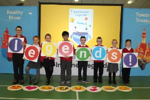 Google staff visit youngsters at Hartlepool's Brougham Primary School, to teach them how to stay safe online.