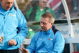 Ged McNamee (left) with manager Craig Hignett.