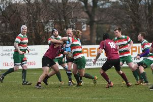 West Hartlepool RFC (hoops) v Whitby RFC (burgundy) at Brinkburn, Hartlepool on Saturday.