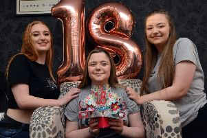 Transplant patient Alice Skinner celebrates her 18th birthday with best friends from left Abi Hall and Rachael Atherton