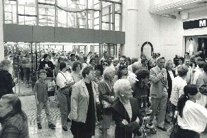 Shoppers flock into Meadowhall at its opening in 1990.