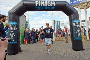 Jeff Stelling arriving at Victoria Park on the second last leg of his 2017 March for Men fundraising for Prostrate Cancer UK
