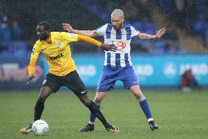 Liam Noble of Hartlepool United during the Vanarama National League match between Hartlepool United and Dover Athletic at Victoria Park, Hartlepool on Saturday 9th March 2019. (Credit: Mark Fletcher   Shutter Press)'�Shutter Press'Tel: +44 7752 571576'e-mail: mark@shutterpress.co.uk'Address: 1 Victoria Grove, Stockton on Tees, TS19 7EL