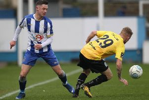 Luke Molyneux in action against Dover Athletic at the weekend.