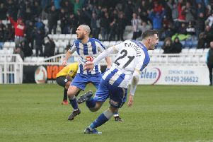 Luke Molyneux celebrates scoring his first goal for Hartlepool - a 91st minute winner against Dover on Saturday.