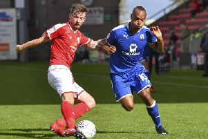 Michael Raynes in action for Crewe.
