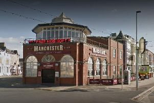 Lytham Road has been closed between Manchester Square and Tyldesley Road due to debris in the road.'According to Blackpool Transport, who have diverted services in the area, heavy winds have also caused damage to the Manchester Pub.