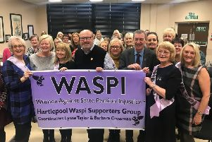 The inaugural meeting of the Hartlepool WASPI branch in December.