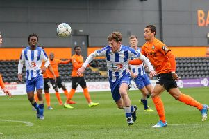 Luke James in action for Pools at The Hive.