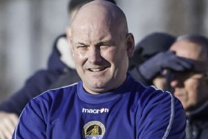 Joint manager Darren Holmes: Demanding a reaction from his Glasshoughton Welfare players.