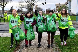Staff and volunteers (left to right) Millie Stevenson, Beverly Brown, Emma white (manor community college) Tracey Faulkner and Danielle Williams from the Burn Road McDonalds litter picking in the Burbank area as they take part in the Hartlepool McDonalds litter pic event.