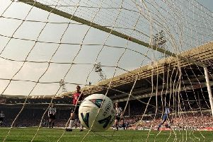 Chelsea's Gus Poyet scores past Newcastle in an FA Cup semi-final at the old Wembley in 2000.