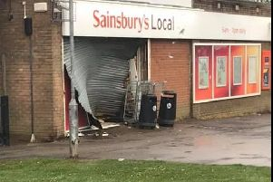 The damage done to the Sainsbury's store following the ram raid.