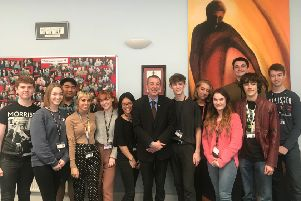 Mike Hill MP with Year 12 students from English Martyrs School and Sixth Form College who he spoke with about knife crime and other issues.