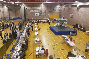 Election count at Mill House leisure centre in Hartlepool.