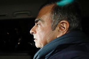 Nissan Chairman Carlos Ghosn in a car leaves his lawyer's office in Tokyo. Japanese prosecutors took Ghosn for questioning Thursday, April 4, 2019, barely a month after he was released on bail ahead of his trial on financial misconduct charges. Picture by Takuya Inaba/Kyodo News via AP