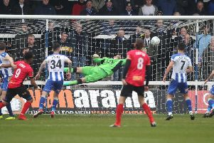 Scott Loach had to be at his very best to keep Pools on level terms - but it was the goalkeeper's second half error which proved costly.