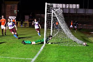 Nathan Lowe's shot creeps over the line for Shields' second. Pics: Kev Wilson