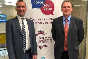 Richard Lewis, who has been selected as the preferred candidate for the role of Chief Constable of Cleveland Police, with Police and Crime Commissioner Barry Coppinger.