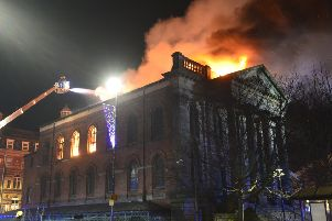 The Wesley building on fire. Pics by Tom Collins