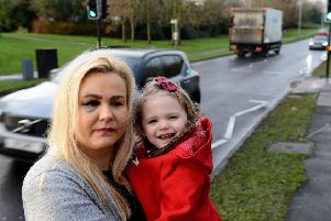 Kate Curran at the crossing at Hart Lane, between Throston Grange Lane and Dunston Road,  where she and her daughter Poppy where knocked over. Picture by FRANK REID