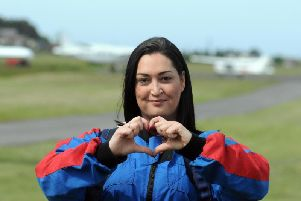 Gemma Lowery taking on a sponsored skydive to mark Bradley's birthday last year.