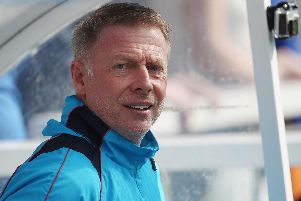 Craig Hignett watches on as his side take on Halifax Twon at the Super 6 Stadium on Friday afternoon (Shutterpress).