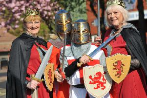 Pools fans Angie Marchant, Christine Edwards, Karen Grimwood and Anne Bates dressed as Knights for the final away game of the season against Barrow.