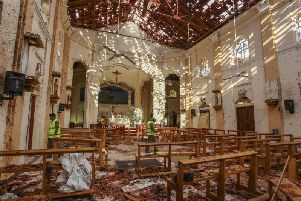 A view of St Sebastian's Church damaged in a blast in Negombo