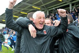 Ronnie Moore celebrates Hartlepool United's 'Great Escape'