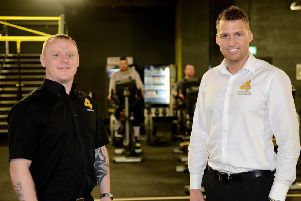 Adam Sowerby (left) with Chris Richardson inside Xercise4less. Picture by Frank Reid.