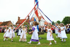 Wellow May Queen Celebrations 2017. Dancing round the Maypole. Picture: Chris Etchells