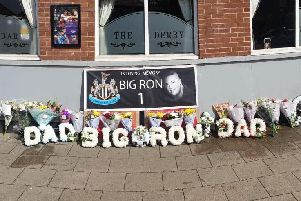 Scores of flowers have been left outside South Shields pub The Derby, formerly the Prince Edward, at The Nook, in memory of Ronnie Howard.