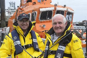 Golf event organisers Malcolm Wallis and Tommy Price(right). Image: RNLI Tom Collins.