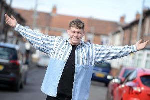 Michael Rice at home in Hartlepool