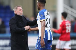 Manager Craig Hignett (left) brought in part-time player Nicke Kabamba, who netted seven goals in 17 games for Pools (Shutterpress).