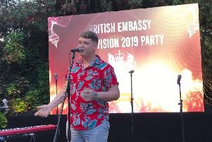 Michael Rice performs at the British Embassy Garden Party held in his honour. Picture: Darron Copeland.