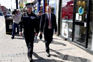 Richard Lewis Chief Constable Cleveland Police Force and Police Commissioner Barry Coppinger walking around the town centre area of Hartlepool. Picture by FRANK REID