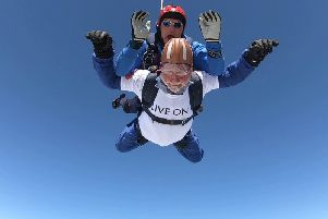 Coun Lethbridge during his skydive