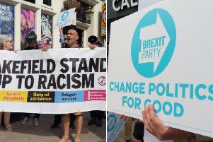 Brexit Party leader Nigel Farage was met with opposition when he visited Wakefield this afternoon.