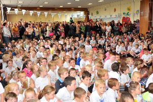 Throston Primary School pupils wait for the start of their sports day.