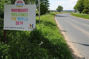 It's quiet now - but the sign shows Harrogate is going to be the cycling centre of the whole world later in the year.