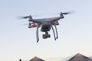 A drone in flight.