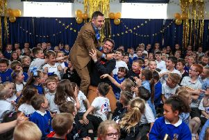 David Walliams during a visit to Flakefleet Primary School in Fleetwood, which was the school that he gave the golden buzzer to on this year's Britain's Got Talent. PRESS ASSOCIATION Photo. Picture date: Friday May 24, 2019. See PA story SHOWBIZ Walliams. Photo credit should read: Peter Byrne/PA Wire