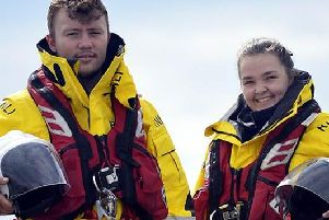 Hartlepool RNLI volunteer crew member Jake Oates and probationary crew member Chandler Wilson pictured in the new kit. (Picture Tom Collins)