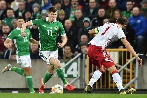 Paddy McNair scored his first Northern Ireland goal against Belarus on Tuesday night.