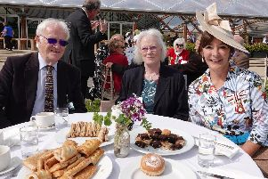 The Duchess with  Mike Allport and Kathleen Allport from Wooler Camera Club.'Picture by Jane Coltman