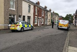 Police at the scene of a murder on Rydal Street in Hartlepool