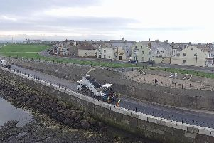 Work to improve the sea wall off Marine Drive on the Headland.