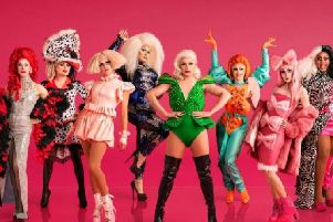 RuPaul's Drag Race UK, with Divina De Campo on the far left. Credit: BBC/ Leigh Keily / Matt Burlem.